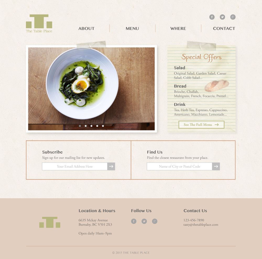 The Table Place Website Design Mockup Home